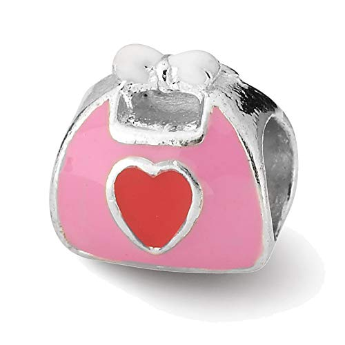 Pink Enameled Purse (Lex & Lu Sterling Silver Reflections Pink/Red Enameled Purse Bead)