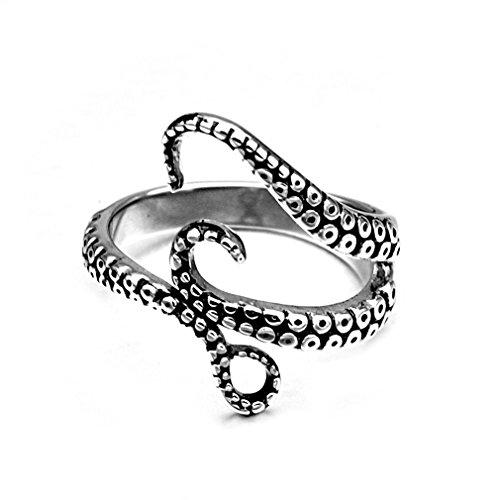 JDXN Titanium Steel Octopus Sea Monster Squid Kraken Antique Ring Retro For Men (10)