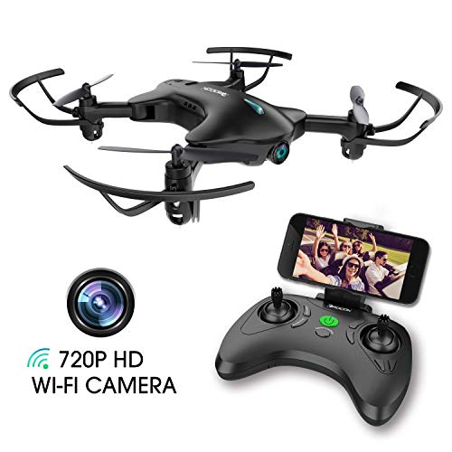 DROCON Drone with Camera, FPV RC Drone with 720P HD Wi-Fi Camera ,Quadcopter Drone for Kids & Beginners - Altitude Hold, Headless Mode, Foldable Arms, One Key take Off/Landing, Black (Holly Hobbie Surprise Party)