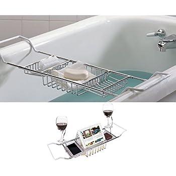 Amazon.com: MelonBoat Expandable Bathtub Caddy Tray with Reading ...