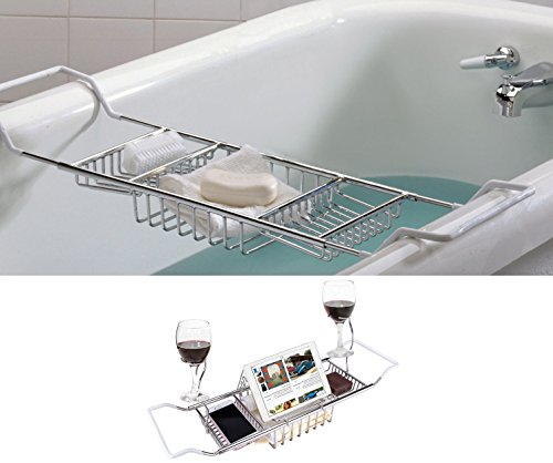 iPEGTOP 304 Stainless Steel Bathtub Caddy Tray - Over Bath Tub Racks Shower Organizer with Extending Sides, Removable Wine Glass Holders and Book Holder - Newest (Magazine Stainless Holder Steel)