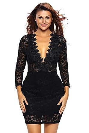 roswear Women's Hollow Out Lace V Neck Clubwear Mini Dress Black Small