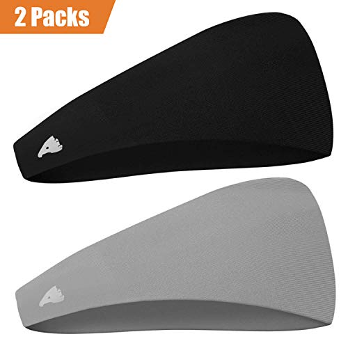 COOLOO Mens Headband 2 Pack Guys Sweatband, Sports Headband for Working Out, Running, Crossfit and Dominating Your Competition-Performance Stretch & Moisture Wicking for Men Women Unisex Gym Fits All
