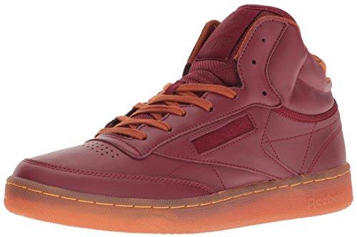 Reebok Mens Club C Mid Corda Moda Sneaker Merlot / Zenzero / Bianco Carta / Rbk Ottone-gomma