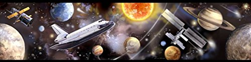 Lunarland OUTER SPACE BORDER Wallpaper Room Decor Planets Shuttle by Lunarland Wall Stickers