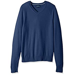 BUTTONED DOWN Men's 100% Premium Cashmere V-Neck Sweater