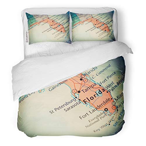 Semtomn Decor Duvet Cover Set Twin Size Fort Florida Map Lauderdale Alabama Atlantic Ocean Bay Beach 3 Piece Brushed Microfiber Fabric Print Bedding Set Cover -