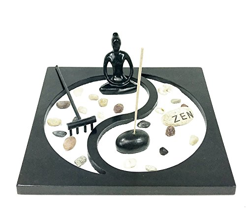 Yin Yang Buddha Statue with Incense Stick Holder and Votive T-light Candle Holder and Altar Tray