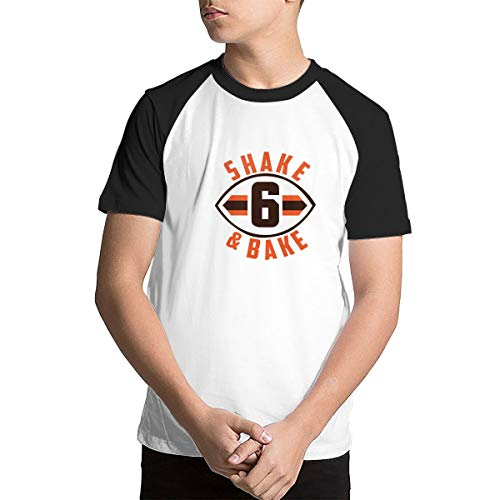 Boys Teens Youth Graphic T-Shirts - Baker Mayfield Shake and Bake Black