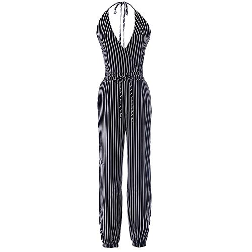 Women Casual Camisole Pinstripe Print V-Neck Backless Jumpsuits Loose Wide Leg Trousers Beam Foot Pants Black