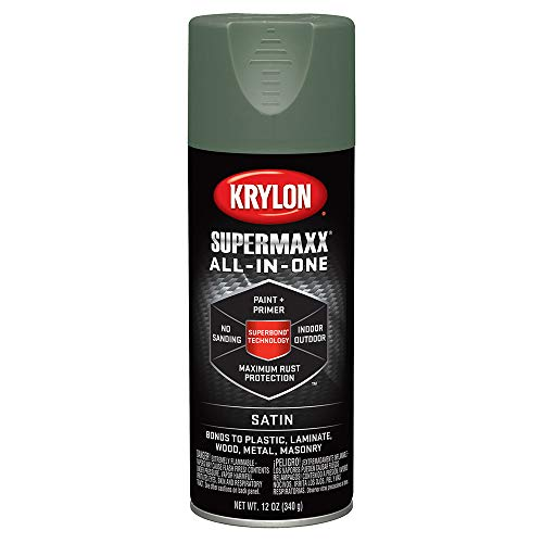 Krylon K08977000 SUPERMAXX Spray Paint, Satin Camp Green