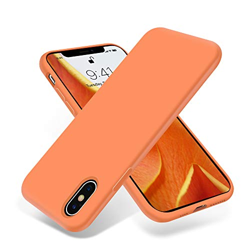OTOFLY iPhone Xs Max Case,Ultra Slim Fit iPhone Case Liquid Silicone Gel Cover with Full Body Protection Anti-Scratch Shockproof Case Compatible with iPhone Xs Max, [Upgraded Version] (Papaya) ()