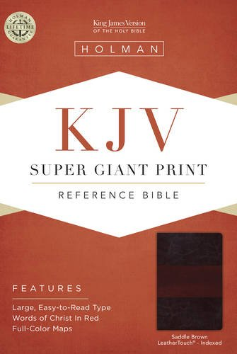 KJV Super Giant Print Reference Bible, Saddle Brown LeatherTouch Indexed