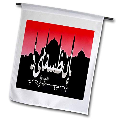 - 3dRose Taiche - Digital Art - Istanbul Typography - Istanbul by Night Skyline Cityscape with Sultan Ahmed Mosque - 18 x 27 inch Garden Flag (fl_317471_2)