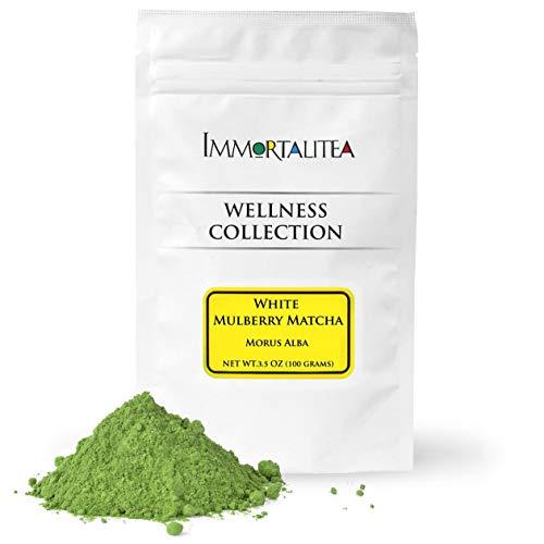 Immortalitea White Mulberry Matcha Style Tea Powder - Blood Sugar Balance Herbal Tea Powder - Caffeine-Free - 3.5 Ounce