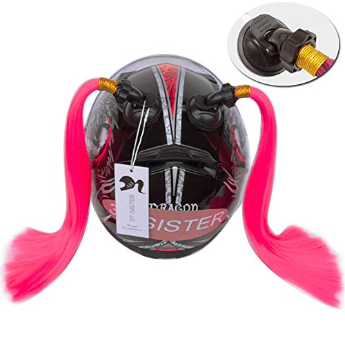 3T-SISTER Helmet Pigtails Motorcycle Helmet Ponytail Braids Helmet Synthetic Hair with Suction Cup Decoration 2PCS 14inch Pink Color