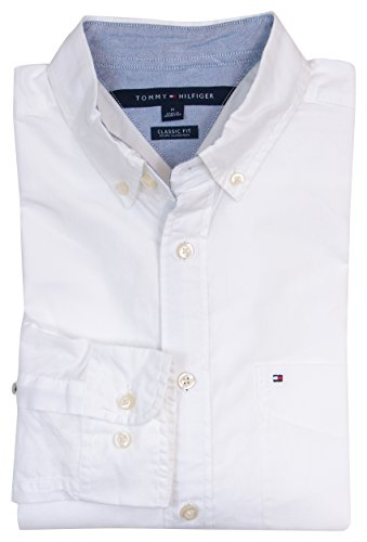 Tommy Hilfiger Mens Long Sleeve Classic Fit Button-Down Shirt - L - White