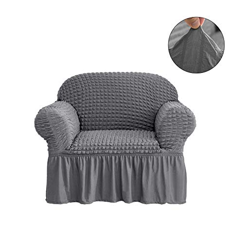CHUN YI 1-Piece All-Purpose Universal Easy Fitted Armchair Sofa Couch Cover Stretchable High Elasticity Durable Furniture Protector Arm Chair Slipcover with Skirt (Chair, Gray)