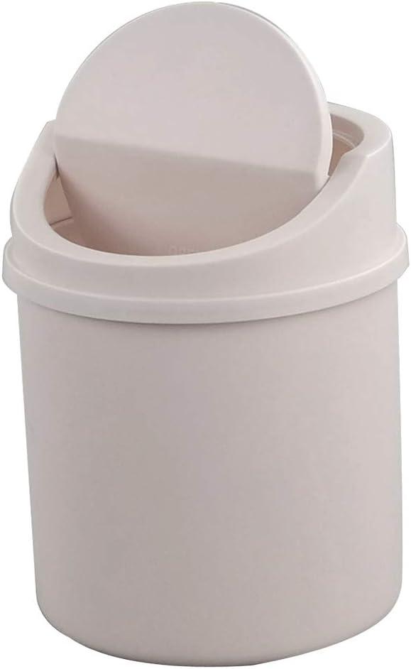 Fiaze Plastic Tiny Waste Bin, Desktop Mini Trash Can with Swing Lid, Pink