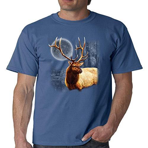 Wild Life Tshirt Moon Light Elk Wilderness Mens Tee (Indigo Blue, XL)