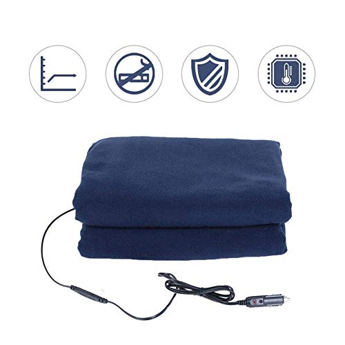 XGZ Car Electric Blanket, Car Supplies Winter Hot Navy Blue Fleece Heated Travel Car Blanket 12v Car Constant Temperature Heating Blanket for Cold Weather