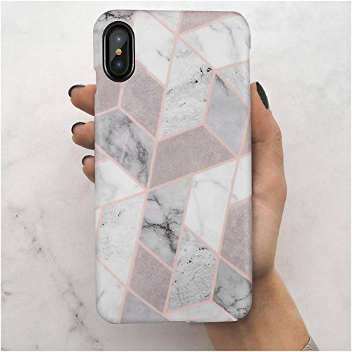 iPhone X Case,iPhone XS Case,Geometric Grey Marble,LUMARKE Slim-Fit TPU Clear Bumper Flexible Rubber Silicone Rugged Thin Protective Phone Case Cover for iPhone X/iPhone XS