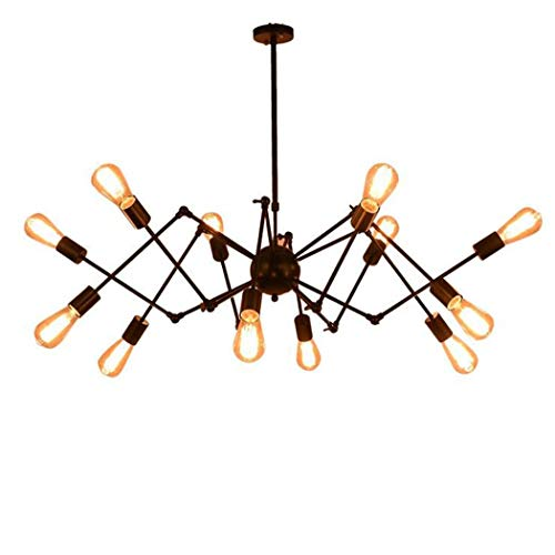 Antique Chandelier/Pendant Lamp, Post-Modern 16 Industrial Wind Spider Chandelier, Nordic Minimalist Wrought Iron Personality Led Pendant Lights for Parlour Dining Room Bar,Cafe, BOSS LV, 16 Head