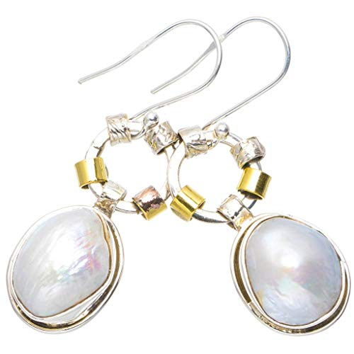Natural Biwa Pearl Handmade Unique 925 Sterling Silver Earrings 1.75
