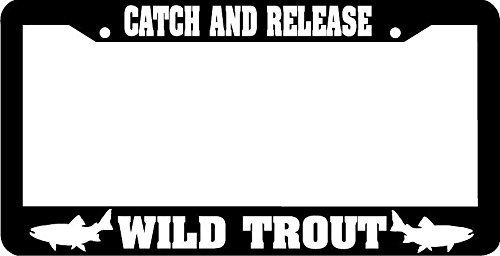 YEX Catch And Release Wild Trout Catch & Release Fishing Fish License Plate Frame Car Tag Frame Auto License Plate Holder 12