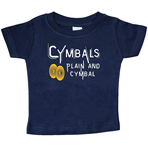 (inktastic Plain and Cymbal White Text Baby T-Shirt 18 Months Navy)