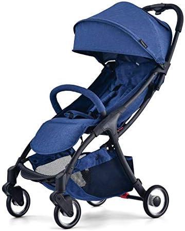 LQRYJDZ ベビーカー、超軽量ポータブルは座って折りたたむことができます、プルロッド付き新生児用軽量ベビーカー用の15kg容量のベビーカー簡単に機内に乗る (Color : Blue)