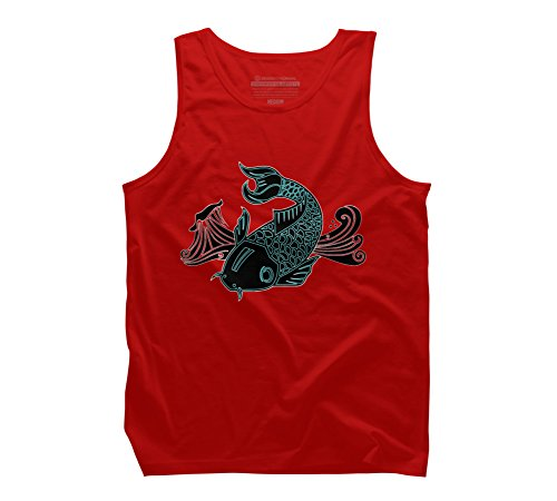 Design By Humans Bioluminescent Koi Fish Men's X-Large Red Graphic Tank Top