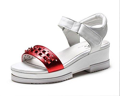 Casual De Final Lin Deducción De Cuero Con Xing Una Sandalias Al Cuero Sandalias Calzado Grueso nbsp;Nuevos red Remaches Palabra De Pegada Toe SRqnxAvn