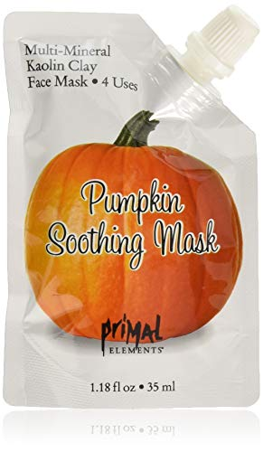 - Primal Elements Face Mask, Clay Mud Facial Treatment, Reduce Pores & Treat Blackheads, Multi-Use Package, 1.18 oz - Pumpkin Soothing