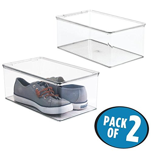 Hinged Lid Storage Boxes - mDesign Stackable Shoe Storage Box Hinged Lid for Sandals, Flats, Sneakers – Pack of 2, Clear