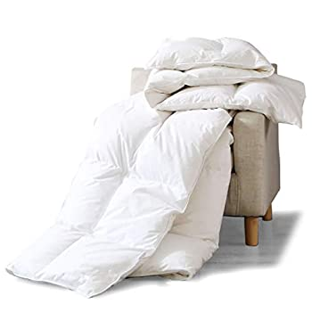 Image of Home and Kitchen APSMILE All Seasons Goose Down Comforter King - 1200TC 100% Organic Cotton Quilted, 650FP 55 Oz Medium Warmth Hypoallergenic Duvet Insert (106x90 Inches, White)