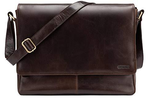 in Mocha LEABAGS Bag Messenger Genuine Buffalo Caramel Style Leather Oxford Vintage gYHgBq