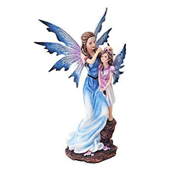9 Inch Mother and Young Girl Blue Winged Fairy Statue Figurine