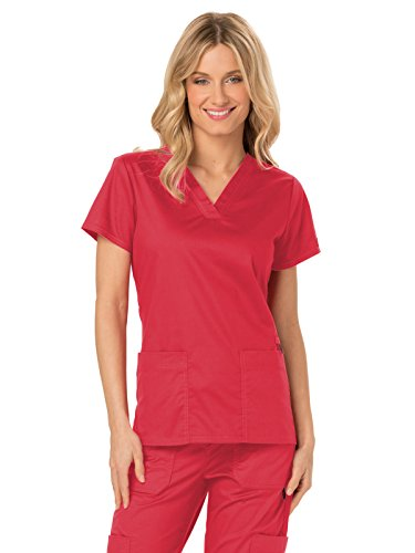 Crimson Scrubs Top - Dickies Gen Flex DK800 Women's V-Neck Solid Scrub Top (Crimson, X-Small)