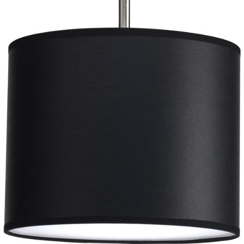Progress Lighting P8820-01 Modular Pendant System Choose Shade and 1-Light Stem (P5198) To Make Complete Fixture 10-Inch Drum Shade, Black Parchment Paper by Progress Lighting (System Stem Pendant)