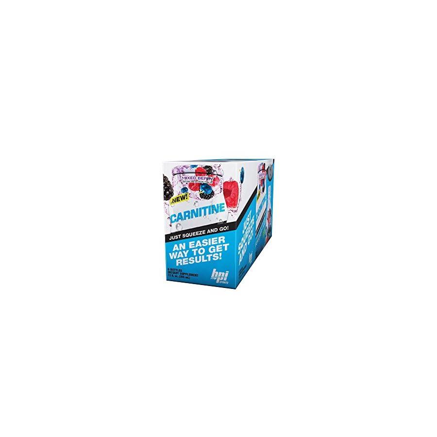 BPI Sports Carnitine Mixed Berry, Liquid Water Enhancer, 24 Servings per Bottle, 6 Bottles
