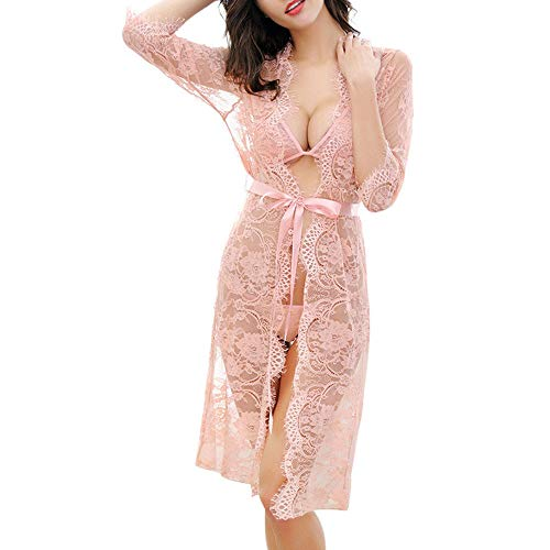 Dressin Womens Sexy Nightdress Perspective 3/4 Sleeve Waist Bandage Hollow Long Sleepwear Lingeire Outfit