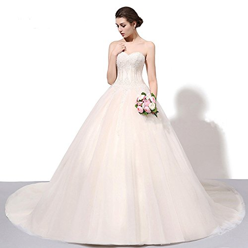 2018 New Design Bridal Off Shoulder Ball Gown Wedding Dress Beaded Sequin Sweetheart Bling Bridal Gowns With Chapel Train (White)
