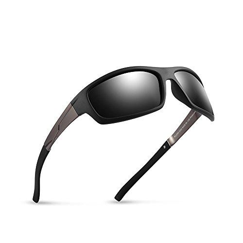2020Ventiventi Mens Sports Sunglasses Polarized Rectangular Lens 61mm for Cycling PL295C02 (Matte - 61 Mm