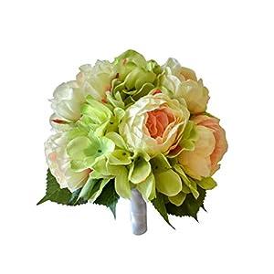 Wedding Botanicals Spring Bouquet of Silk Blush Garden Roses & Green Hydrangea 118