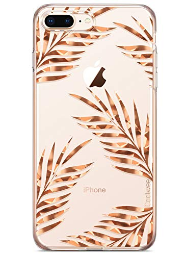 COOLWEE iPhone 7 Plus Case,Clear iPhone 8 Plus Case Rose Gold Floral Shiny Glitter Foil Thin Cool Slim Flower Protective Soft TPU Bumper for Apple iPhone 7 Plus 8 Plus 5.5 inch (Spackle Series) Leaves