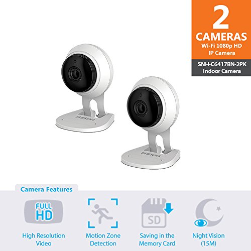 SNH-C6417BN - Samsung Wisenet SmartCam 1080p Full HD Plus Wi-Fi Camera Double Pack by Samsung