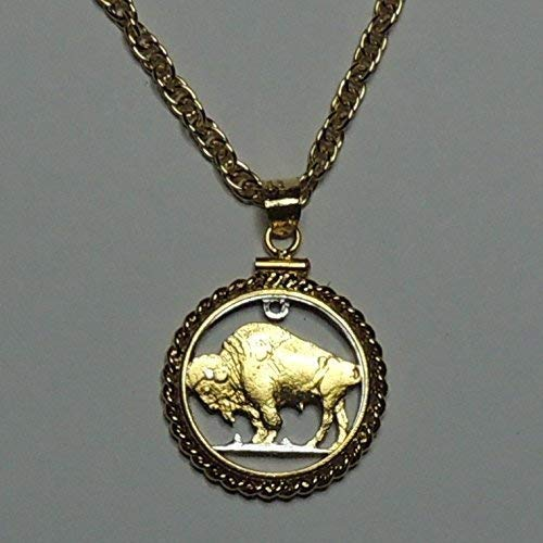 Old U. S. Buffalo nickel- Beautifully Hand Cut out & 2-toned(Uniquely Hand done) Gold on Silver coin Necklaces for women men girls girlfriend boys teen girls (Cowboy Coin Necklace)