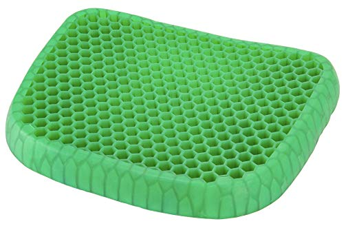 (Green Gel Seat Cushion with Gel for Back Pain, Tailbone, Coccyx & Sciatica Relief - Lightweight & Portable - Home, Office & Car Use)