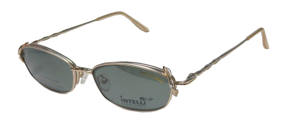 Elite Eyewear Intelli Clip 716 Womens/Ladies Designer Half-rim Sunglass Lens Clip-Ons Strass Flexible Hinges Eyeglasses/Eye Glasses (53-17-135, Gold)